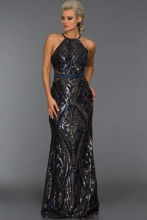 Long Navy Blue Evening Dress ABU005