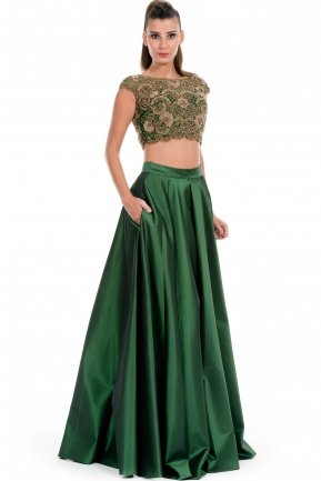Emerald Green Two Piece Evening Dress AB1132