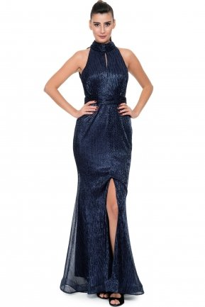 Long Navy Blue Evening Dress F2841