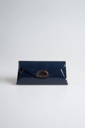 Navy Blue Patent Leather Evening Handbags V452