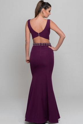 Long Plum Evening Dress S4370