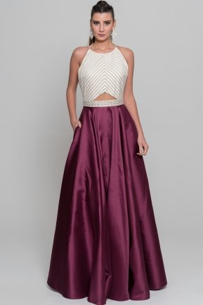Long Plum Evening Dress S4381