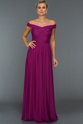 Long Fuchsia Evening Dress AB1163