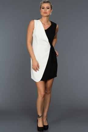 Short Black-White Evening Dress ABK058