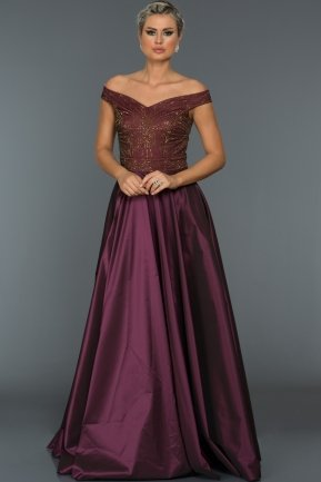 Long Plum Evening Dress C7297