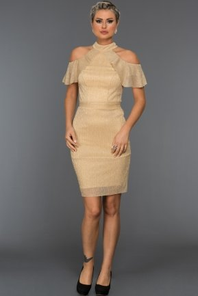 Short Gold Evening Dress C8092