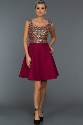 Short Plum-Orange Evening Dress C8105