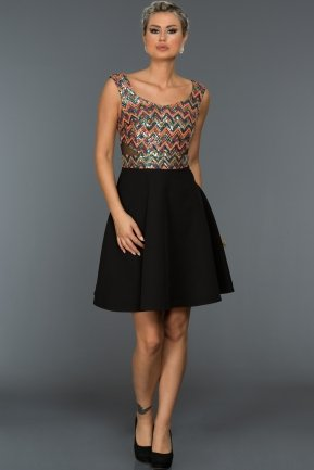 Short Orange-Black Evening Dress C8105