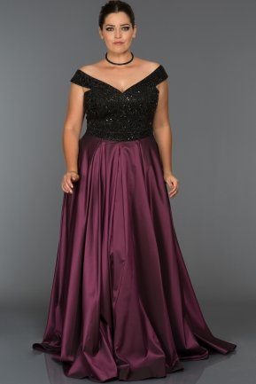 Long Black-Plum Oversized Evening Dress GG6858