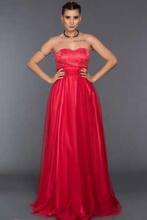 Long Coral Sweetheart Evening Dress C7135