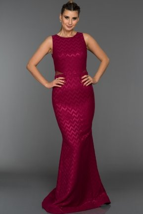 Long Plum Evening Dress C7243