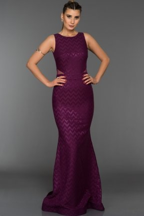 Long Violet Evening Dress ABU044