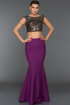 Long Purple Evening Dress C7292