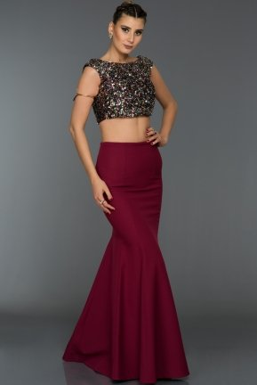 Long Plum Evening Dress C7292