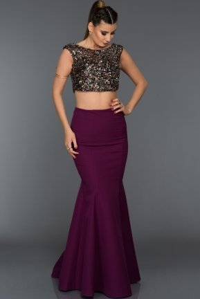 Long Violet Evening Dress C7292