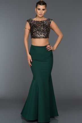 Long Emerald Green Evening Dress C7292