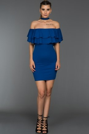 Short Sax Blue Evening Dress D9188