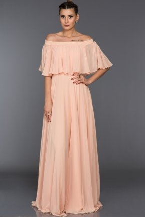 Long Salmon Evening Dress F4161