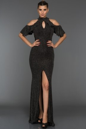 Long Black Evening Dress F4114
