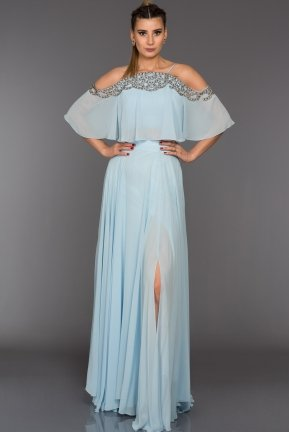 Long Light Blue Evening Dress F296