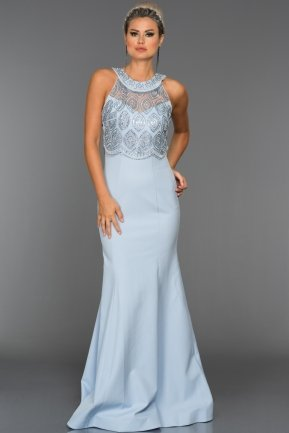 Long Light Blue Evening Dress C7258