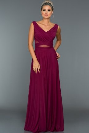 Long Plum Evening Dress ABU004