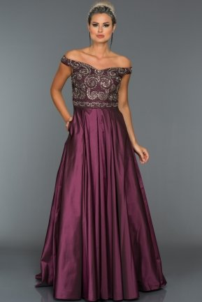 Long Plum Evening Dress C7298