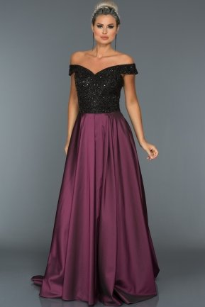 Long Black-Plum Evening Dress GG6858