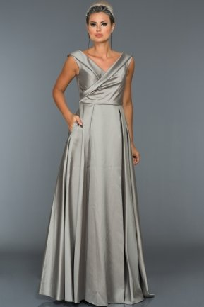 Long Grey Evening Dress C7312