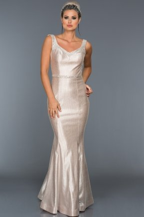 Long Powder Color Evening Dress F4274