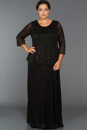 Long Black Plus Size Dress ABU158