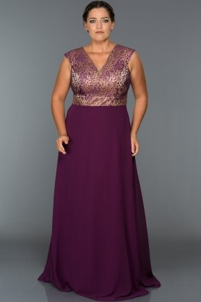 Long Violet Oversized Evening Dress C9584