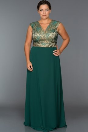 Long Emerald Green Oversized Evening Dress C9584