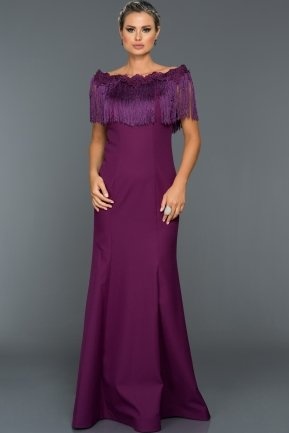 Long Violet Evening Dress ABU010