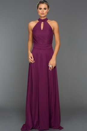Long Purple Evening Dress C7309