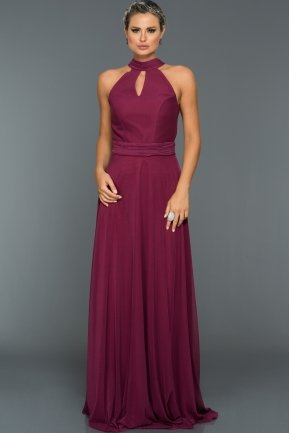 Long Plum Evening Dress C7309