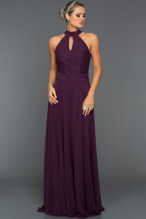 Long Violet Evening Dress C7309