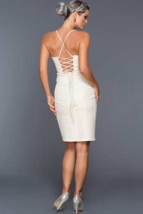 Short Ecru Evening Dress C8104