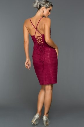 Short Plum Evening Dress C8104