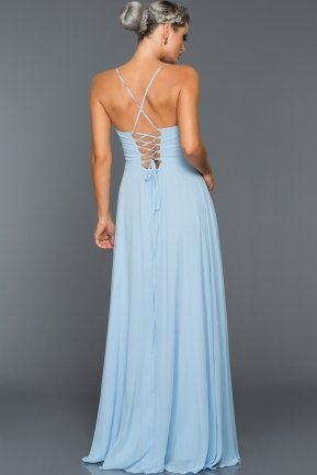 Long Ice Blue Evening Dress ABU070