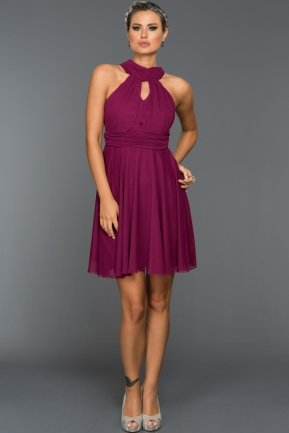Short Plum Evening Dress ABK224