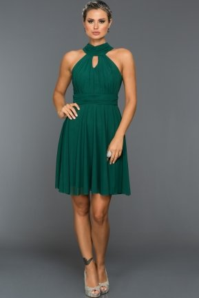 Short Emerald Green Evening Dress ABK224