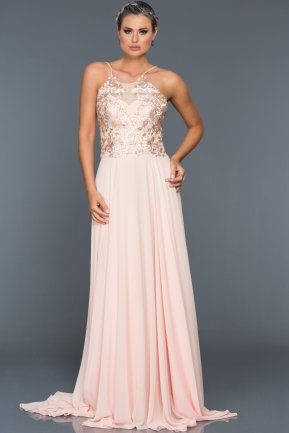 Long Salmon Evening Dress F4318