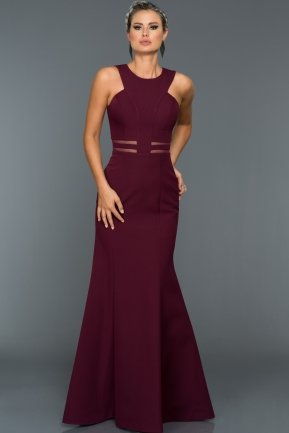 Long Plum Evening Dress W6004
