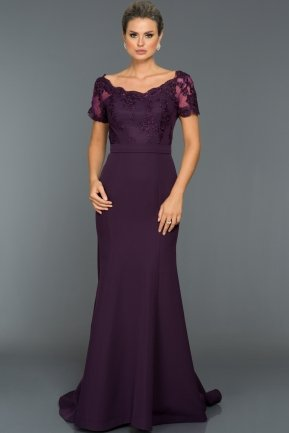 Long Dark Purple Evening Dress ABU037