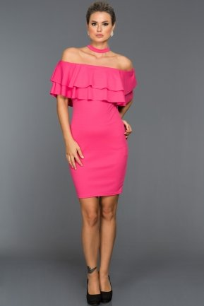 Short Fuchsia Evening Dress D9188