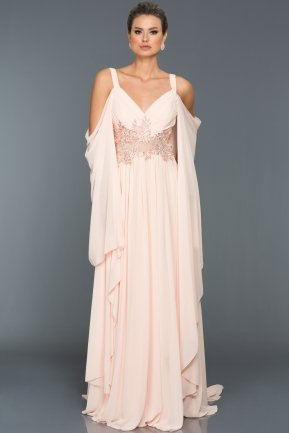 Long Salmon Evening Dress F4212