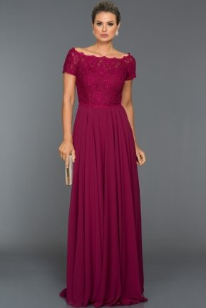 Long Plum Evening Dress T3071