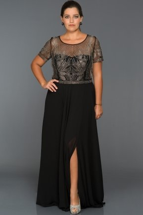 Long Black Oversized Evening Dress S4481