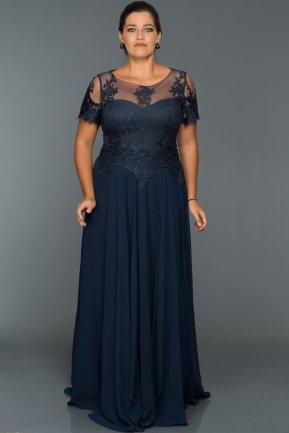 Long Navy Blue Oversized Evening Dress AN5010